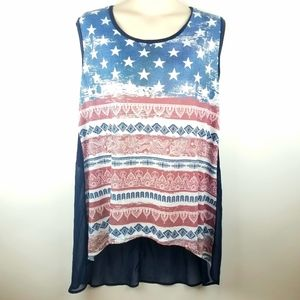French Blue Patriotic American Flag Sleeveless Top